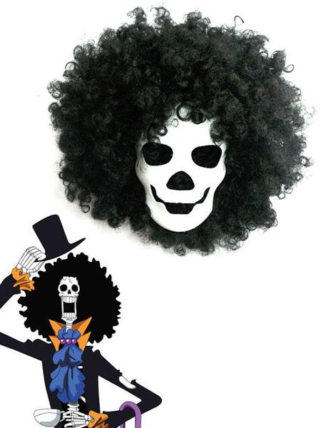 Milanoo One Piece Dead Bones Brook Mask And Black Wig Anime Cosplay Accessories Halloween