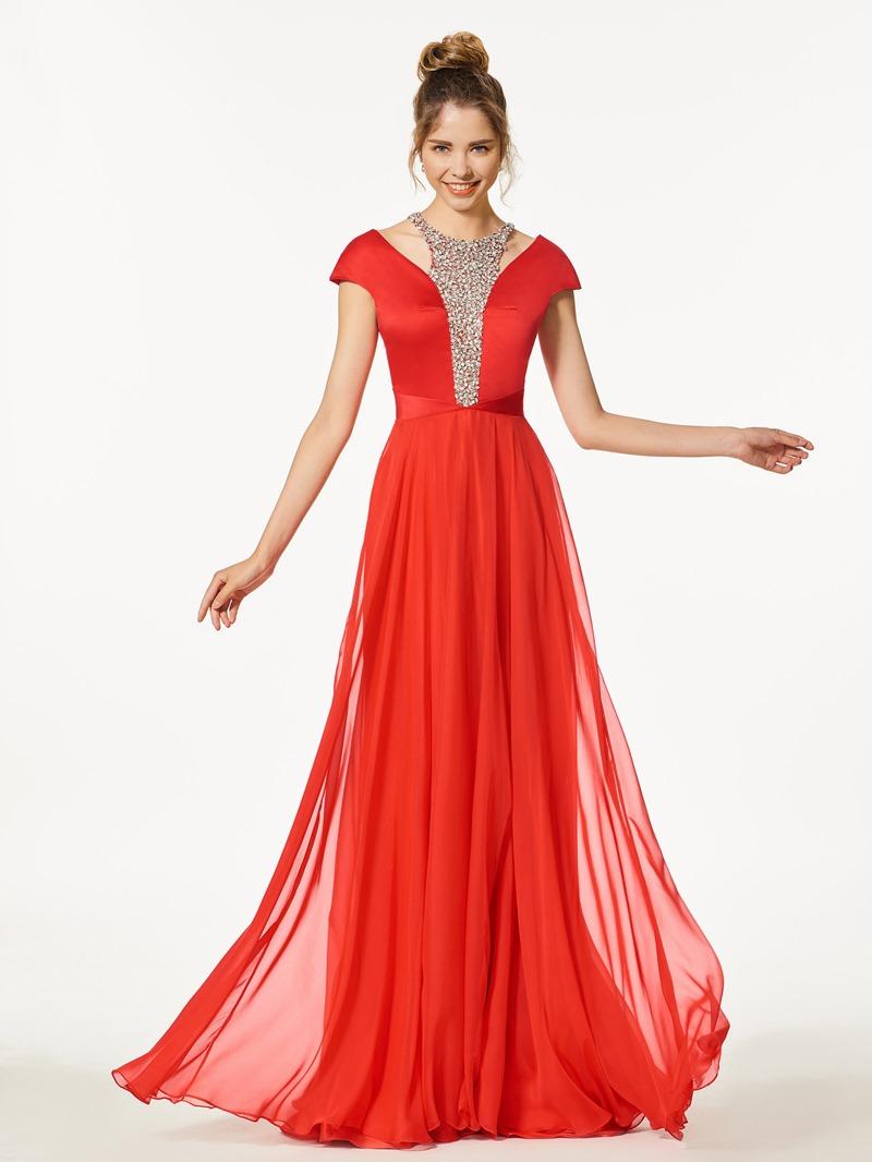 Ericdress A-Line Beading Cap Sleeves Floor-Length Prom Dress