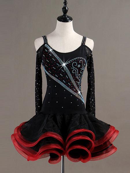 Milanoo Dance Costumes Latin Dancer Dresses Women Long Sleeve Beading Ruffles Tutu Latin Skirt Wears Outfits Halloween