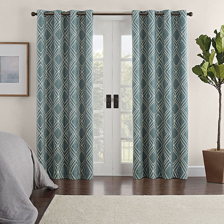 Eclipse Ambiance Geo Print Draft Stopper Energy Saving 100% Blackout Grommet-Top Single Curtain Panel, One Size , Green