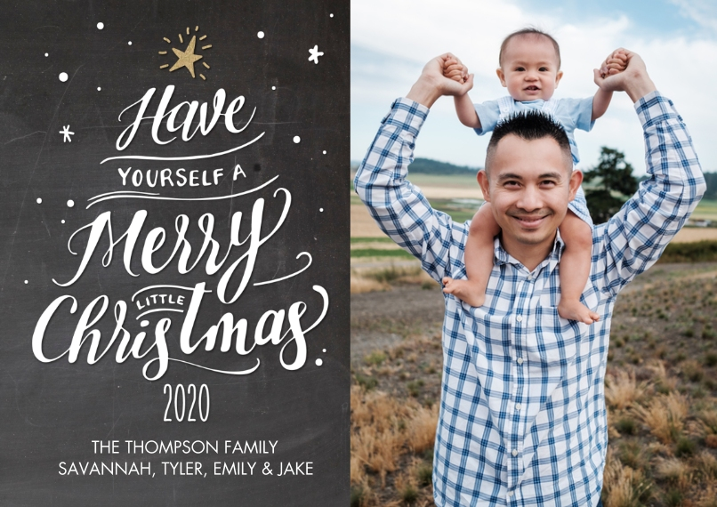Christmas Photo Cards 5x7 Cards, Premium Cardstock 120lb with Rounded Corners, Card & Stationery -2020 Script Tree by Tumbalina