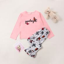 Girls Butterfly And Letter Graphic PJ Set