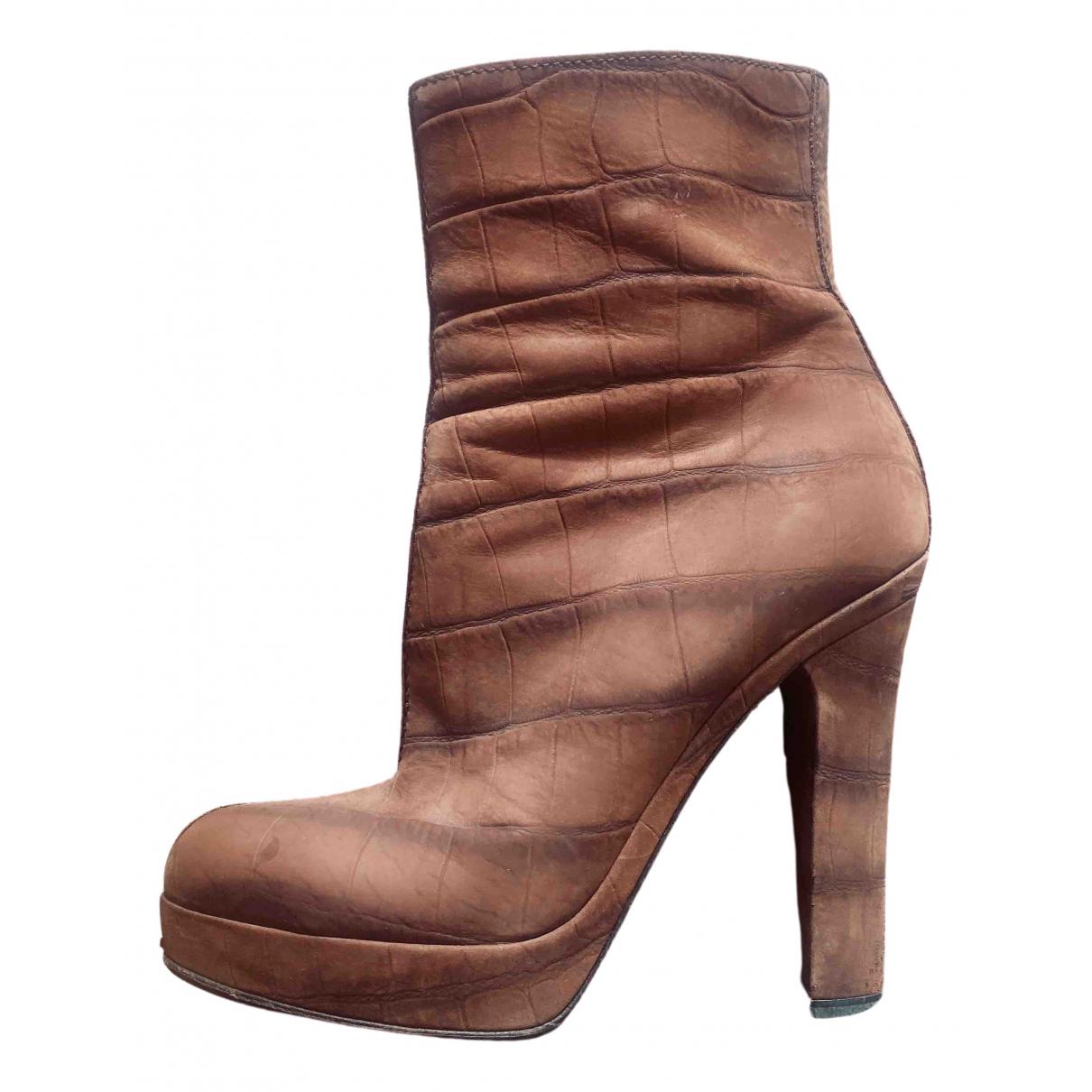 Saint Laurent - Bottes   pour femme en cuir - marron