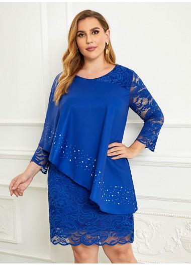 Lace Three Quarter Sleeve Plus Size Dress - 4XL