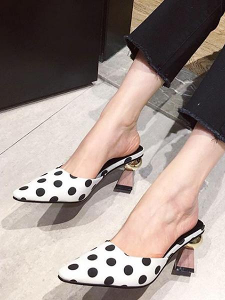 Milanoo Zuecos de mujer Zuecos Zapatos de lona negros con punta cuadrada y lunares