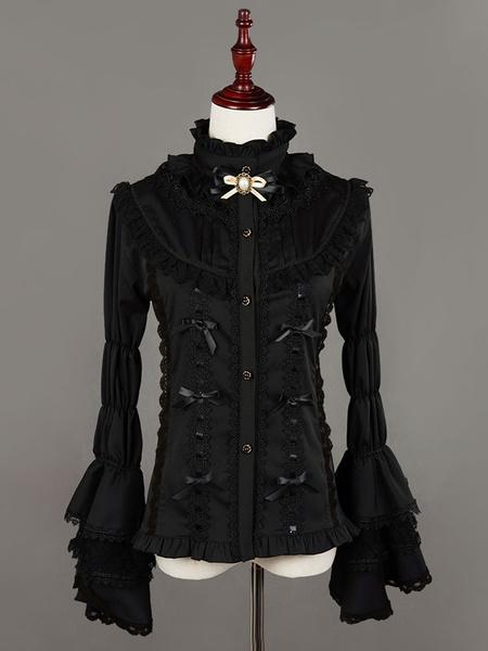 Milanoo Gothic Lolita Blouse Neverland White Hime Sleeve Bow Lolita Top