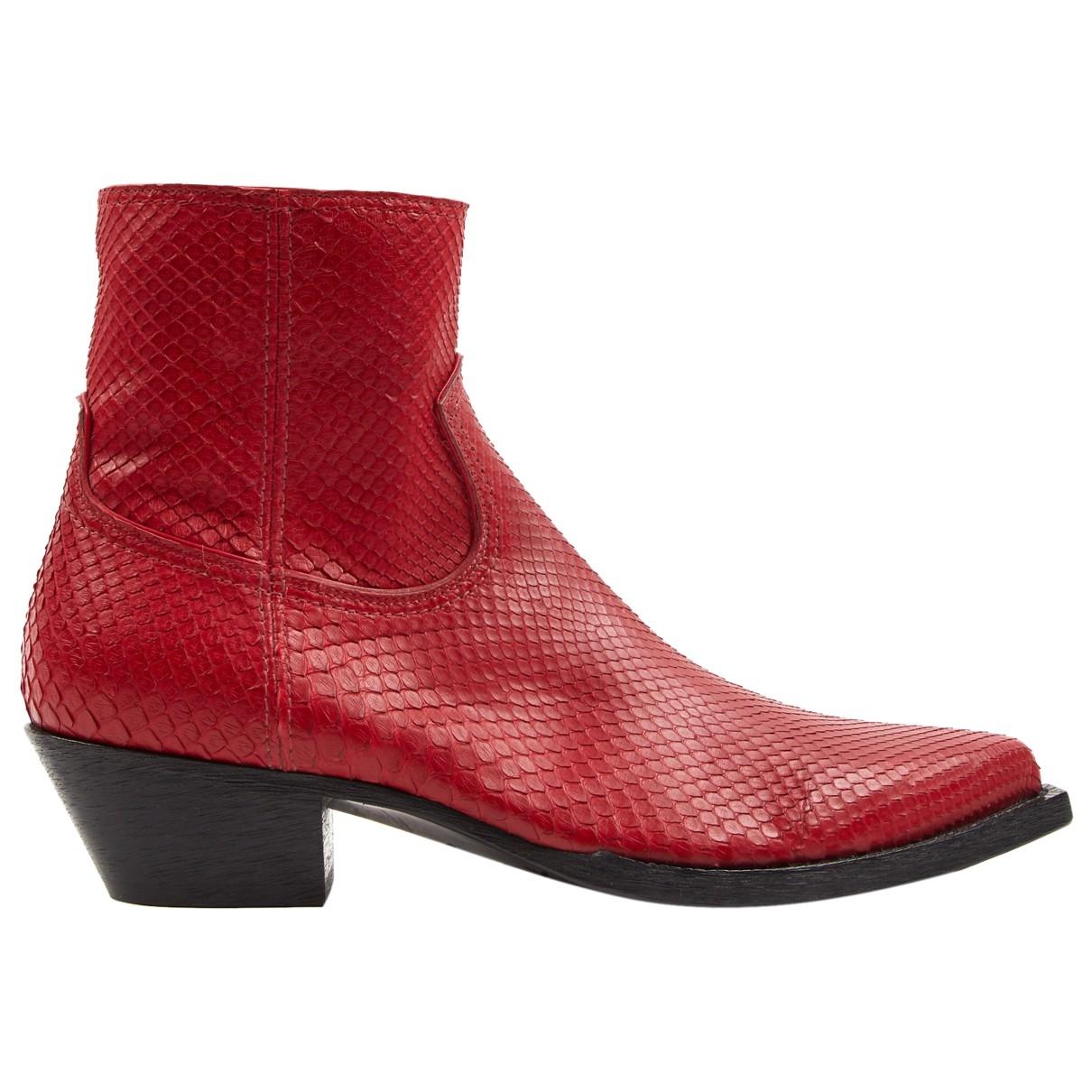 Saint Laurent Lukas Red Python Boots for Men 43 EU