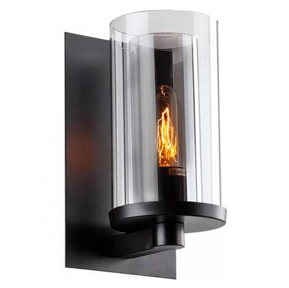 DU11 1-Light Wall Sconce with Metal and Glass Materials and 60 Watts in Black