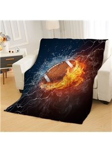 Passionate Football/ Rugby Between Water And Fire Reactive Printing Polyester Flannel Blanket