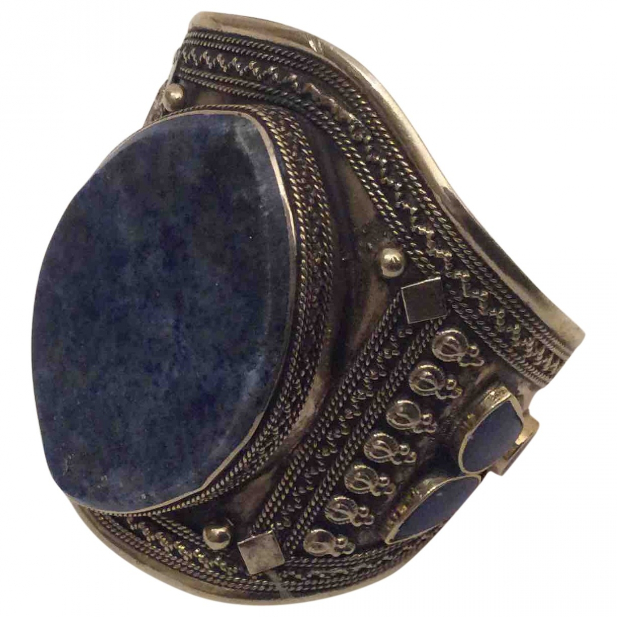 Non Signe / Unsigned Motifs Ethniques Armband in  Silber Stahl