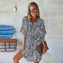 Button Through Allover Floral Print Dress