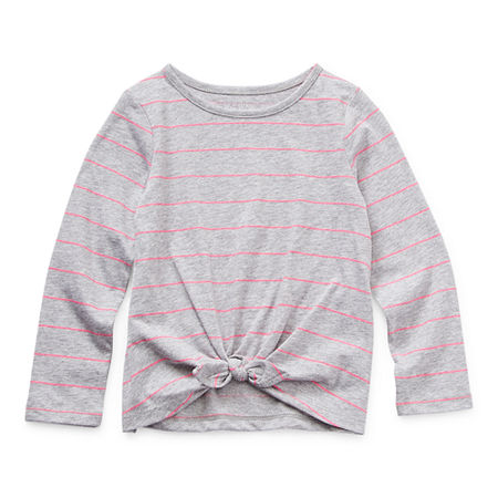 Okie Dokie Toddler Girls Round Neck Long Sleeve T-Shirt, 5t , Gray