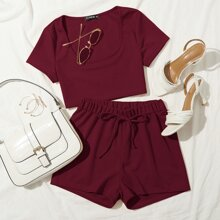 Plus Rib-knit Crop Tee With Knot Front Track Shorts