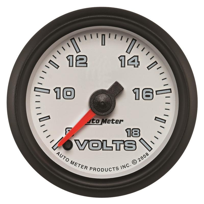 AutoMeter GAUGE; VOLTMETER; 2 1/16in.; 18V; DIGITAL STEPPER MOTOR; WHITE; PRO-CYCLE