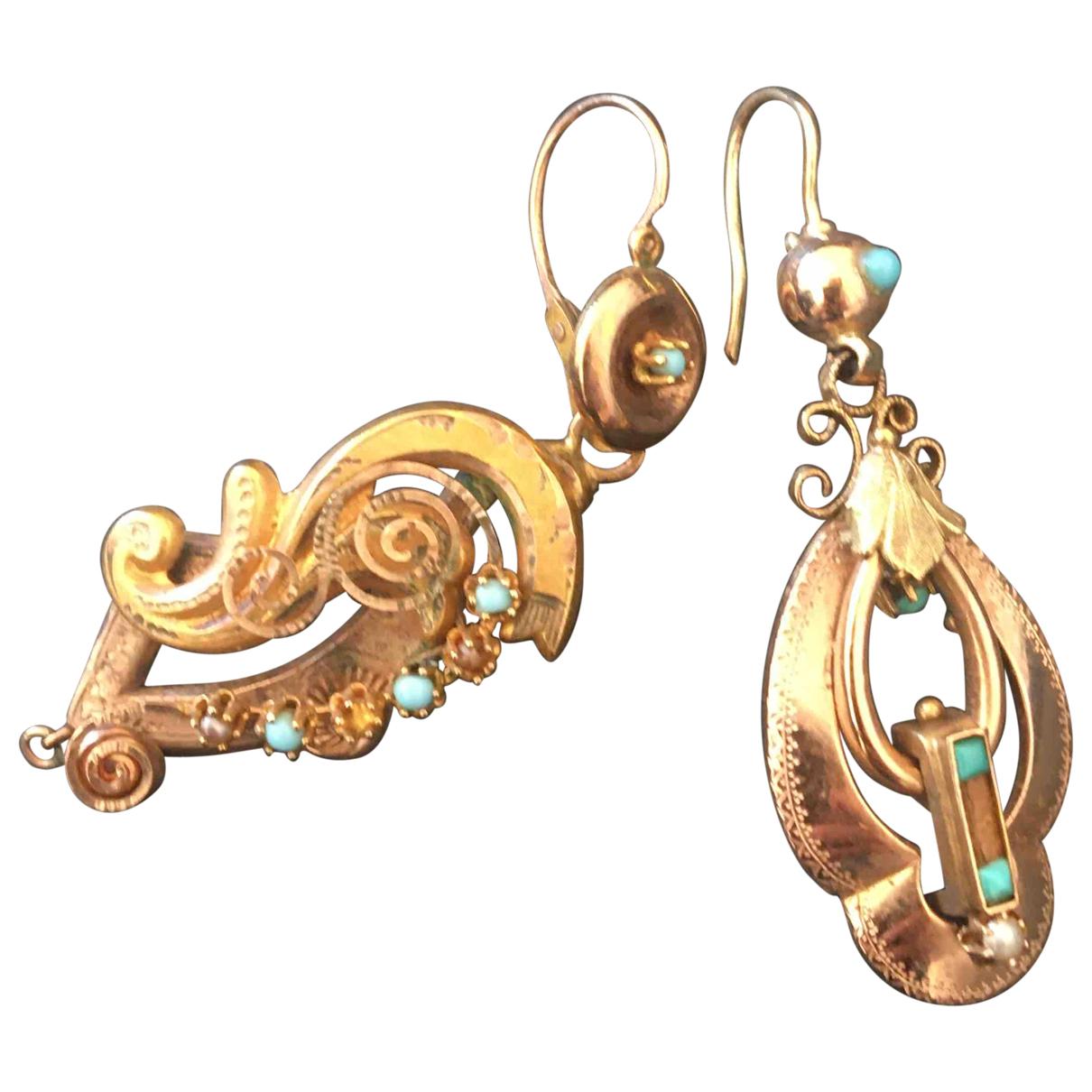 - Boucles doreilles Art Deco pour femme en or jaune - dore
