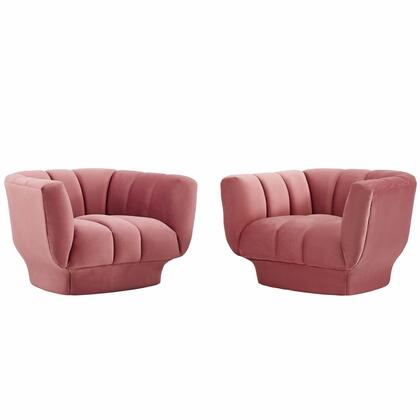 Entertain Collection EEI-4085-DUS Set of 2 Armchairs with Vertical Channel Tufting  Rimmed Base  Dense Foam Padding and Stain-Resistant Velvet