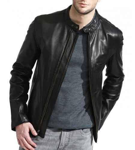 Full Sleeve Zipper Closure Black Lambskin Leather Cafe Racer Jacket