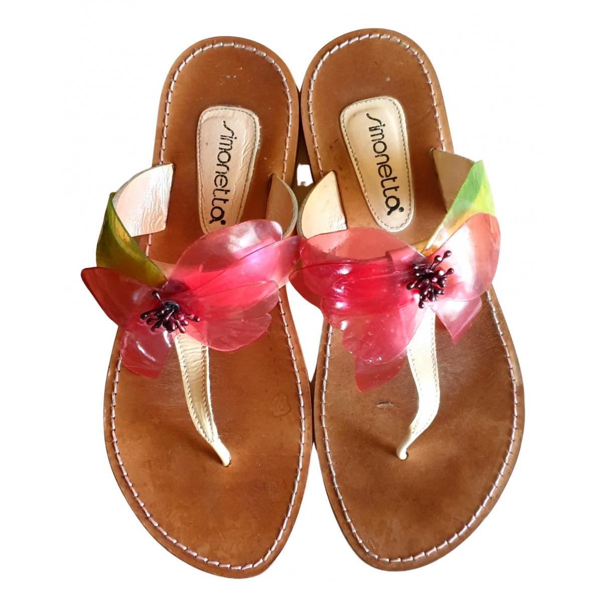 Simonetta - Sandales   pour femme en cuir - multicolore