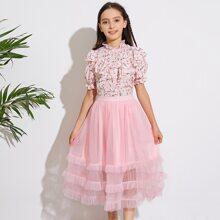 Girls Frilled Neck Floral Blouse & Layered Ruffle Mesh Skirt Set