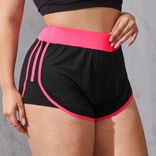 Pantalones cortos deportivos de talla grande Ribete en contraste Monocolor