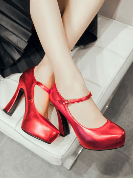 Milanoo Women Platform Pumps Round Toe Chunky Heel Silver PU Leather Women Shoes