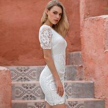 D&M Rib-knit Bodice Drawstring Lace Dress