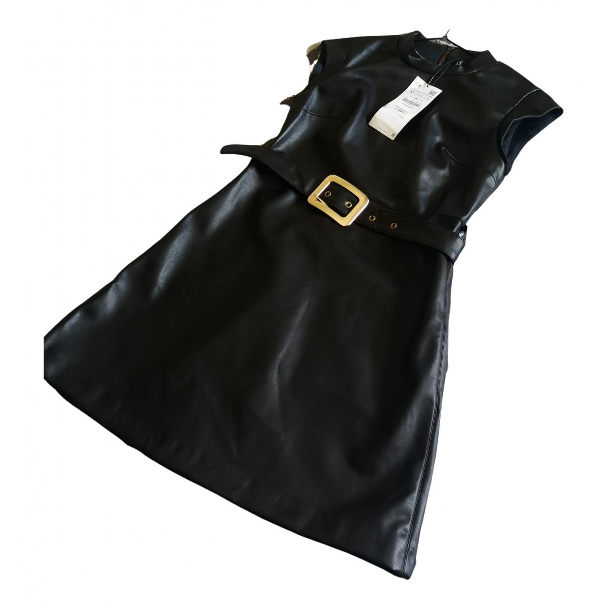 Zara - Robe   pour femme en cuir verni - noir
