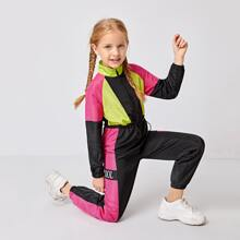 Girls Raglan Sleeve Drawstring Waist Colorblock Wind Jumpsuit