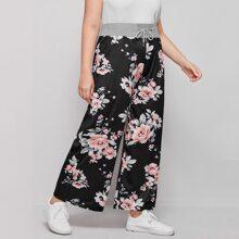 Pantalones de cintura con cordon con estampado floral
