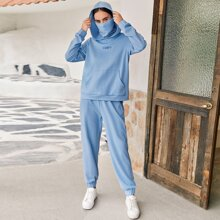 Letter Embroidered Hoodie With Neck Gaiter and Sweatpants Set
