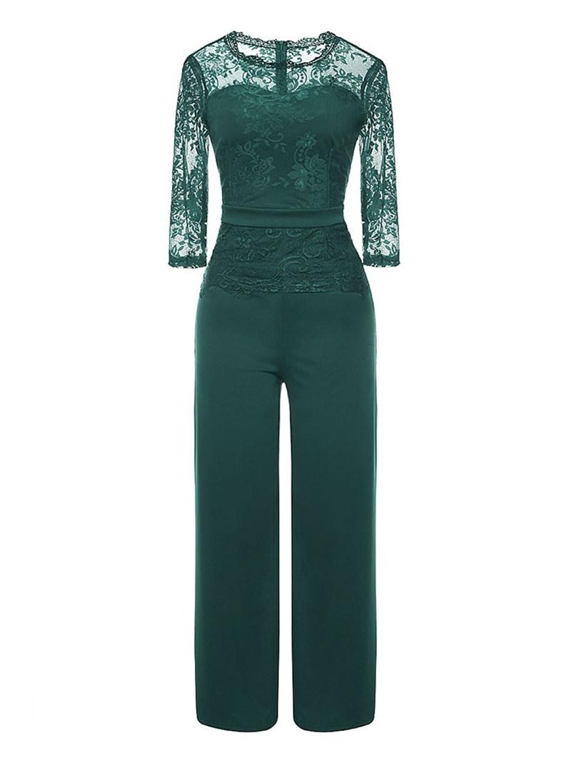 Ericdress Patchwork Lace Plain Wide Legs Elegant Jumpsuit