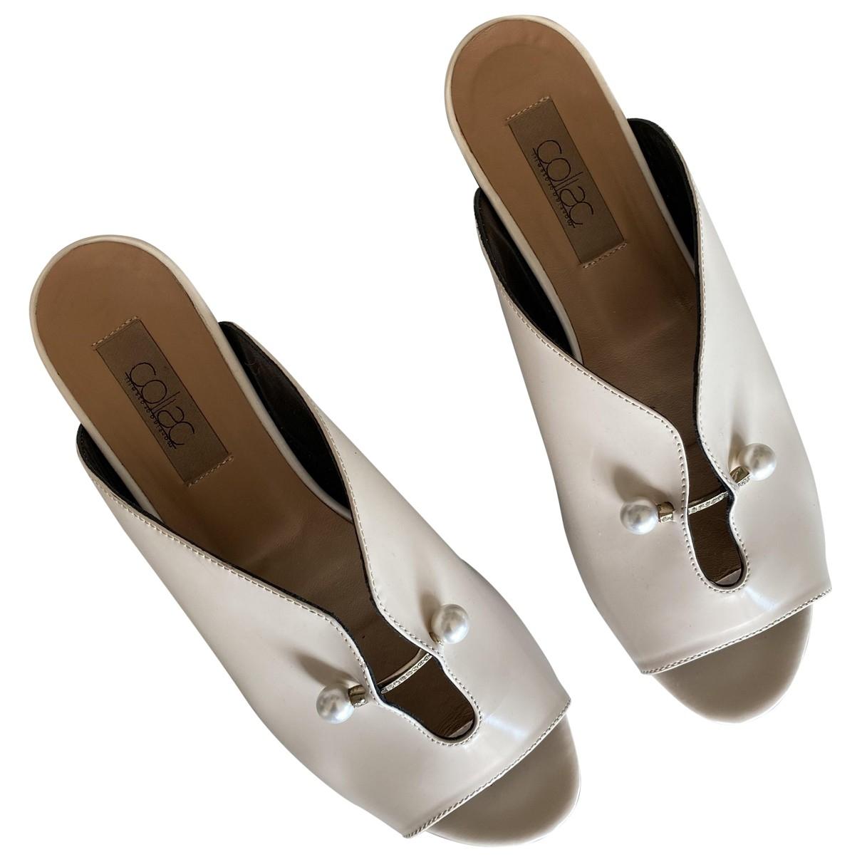 Coliac - Sandales   pour femme en cuir - blanc
