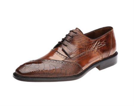 Belvedere Nino Camel Ostrich Eel Brogue Shoes