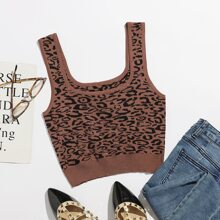 Leopard Knit Crop Top