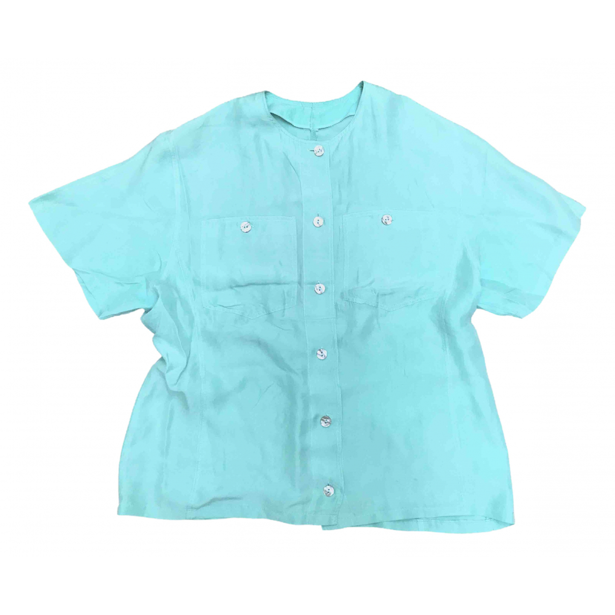 Non Signé / Unsigned Oversize Turquoise Silk  top for Women S International