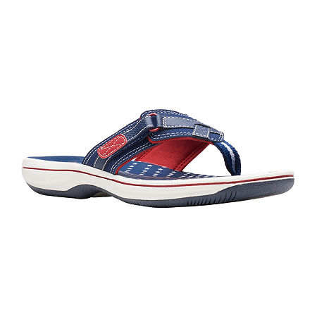 Clarks Womens Breeze Sea Flip-Flops, 10 Medium, Blue