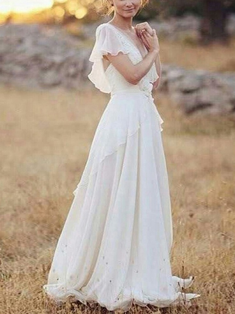 Ericdress Short Sleeves Appliques Beach Wedding Dress