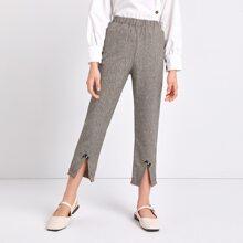 Pantalones bajo con encaje con lazo con cuenta con perla
