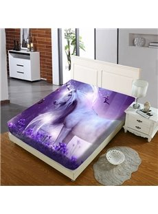 Purple Unicorn In Lavender Reactive Printing 1-Piece Polyester Bed Cover / Mattress Cover
