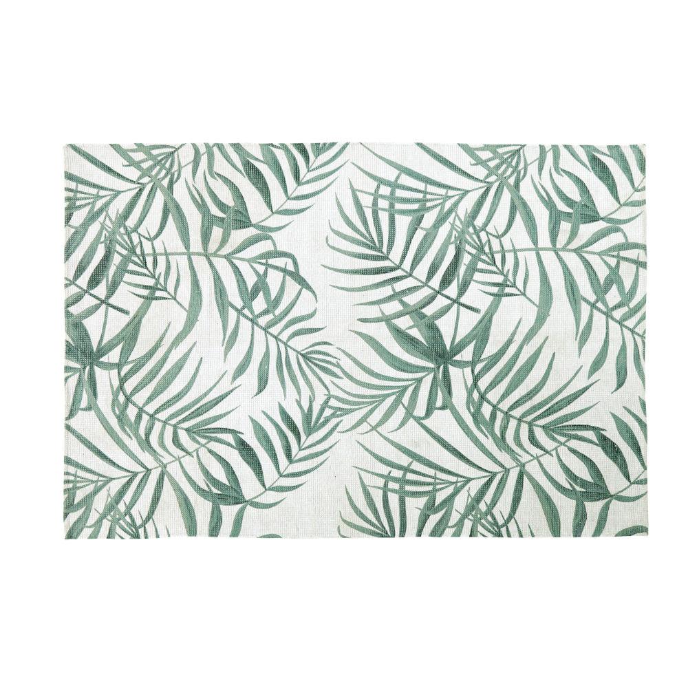 Teppich in Ecru mit gruenem Pflanzendruck 140x200