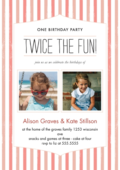 Kids Birthday Party Invites Flat Matte Photo Paper Cards with Envelopes, 5x7, Card & Stationery -Twice the Fun Joint Girl Striped Bday