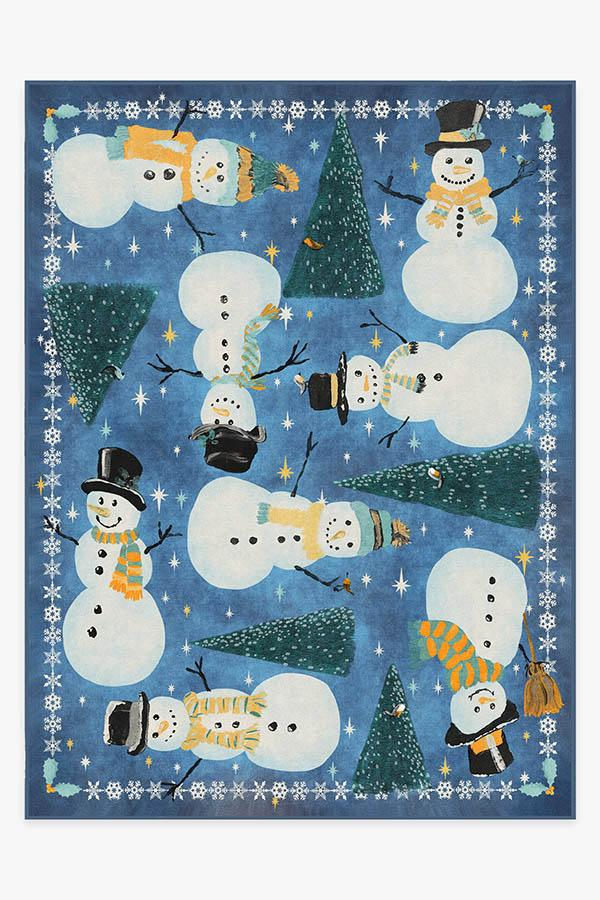 Washable Rug Cover & Pad | Snowy Soiree Navy Rug | Stain-Resistant | Ruggable | 9'x12'