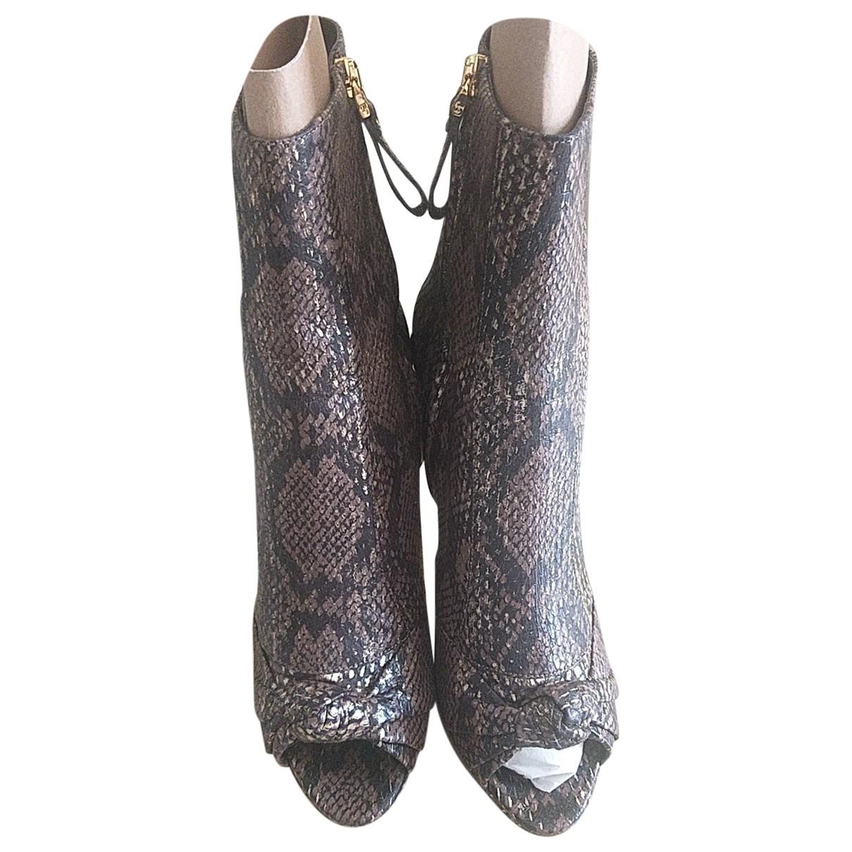Sergio Rossi - Boots   pour femme en cuir - marron