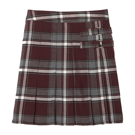 French Toast Plaid Little & Big Girls Scooter Skirt, 10 , Red