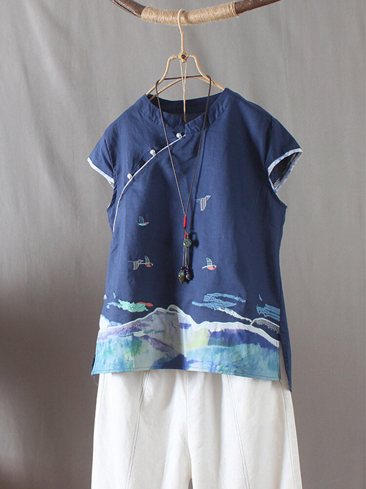 Chinese Style Vintage Embroidery Frog Button Blouse