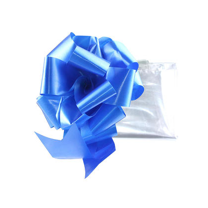 Clear Bag 30*30in, Large Cellophane Wrap for Baskets and Gift, with Pull Bow, Blue - LIVINGbasics™