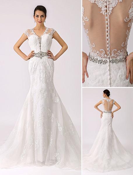 Milanoo V Neck Trumpet Lace Wedding Dress with Sheer Back