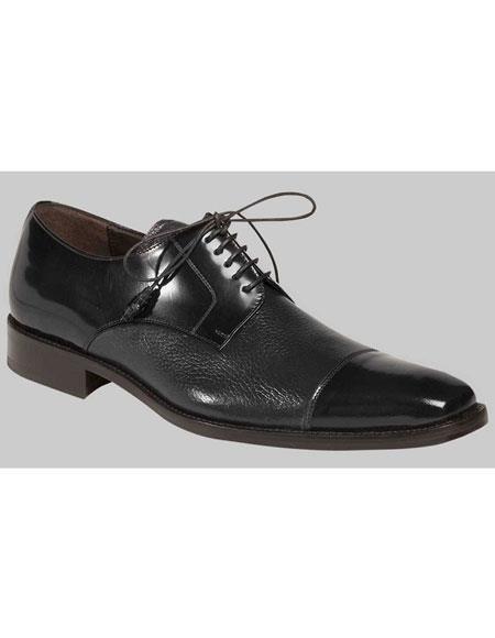 Mens Black Up Deer Skin Polished Cap Toe Oxford Leather Shoes Brand