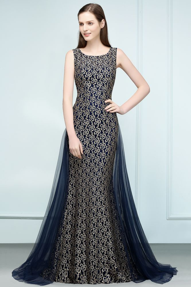 REBA | Mermaid Sleevless Crew Floor Length Gold Lace Prom Dresses