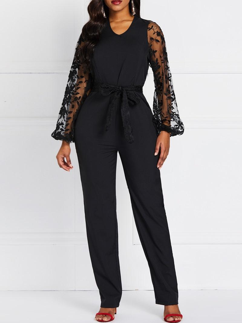 Ericdress Lace Plain See-Through Patchwork Slim Jumpsuit
